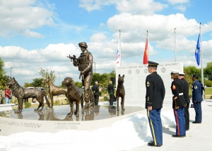 Soldiers pay tribute at the Military Working Dog Teams National Monument